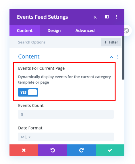 Show Events for current page in the Divi Theme Builder in the Divi Event Calendar