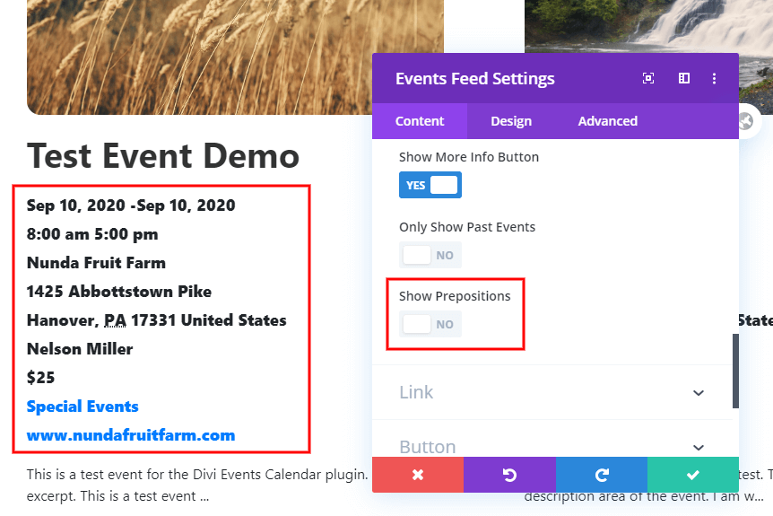 Show or hide prepositions and dividers in the Divi Event Calendar event details