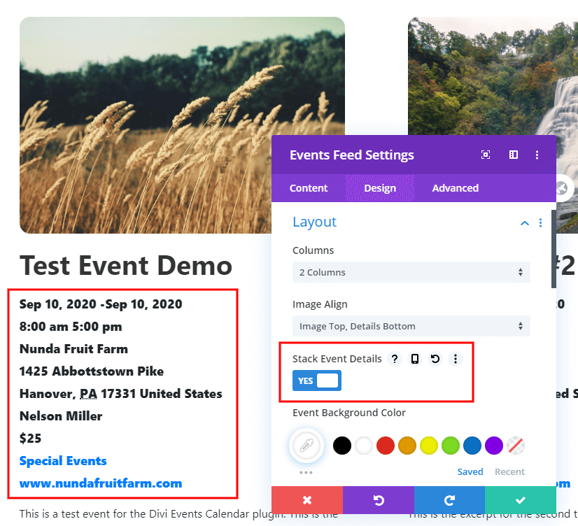 Stack Event Details On Their Own Line feature in the Divi Event Calendar