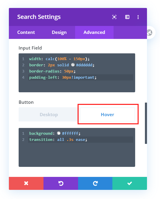 customize and style the Divi search module button on hover with custom css