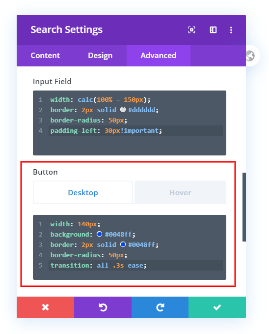 customize and style the Divi search module button with custom css