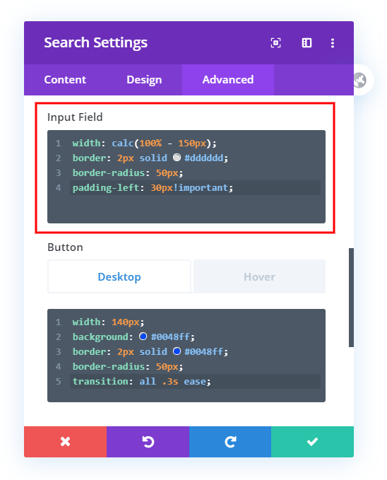 customize and style the Divi search module input field with custom css