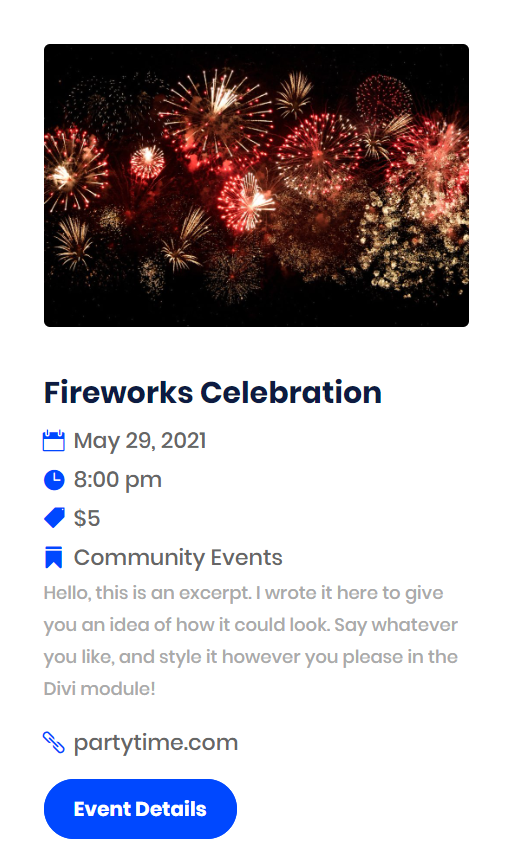 icons in the Divi Events Calendar event details