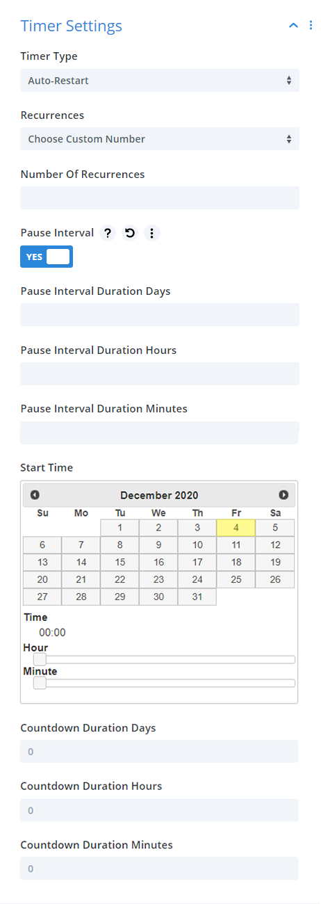 Divi Timer Pro module countdown timer auto restart settings