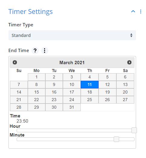 Divi Timer Pro module countdown timer standard settings