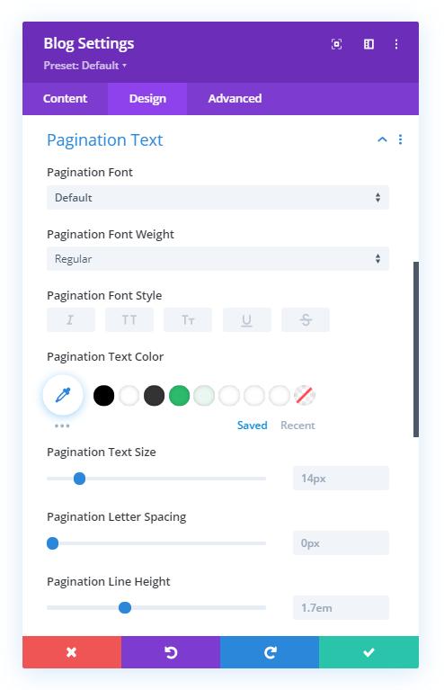Divi blog module pagination settings
