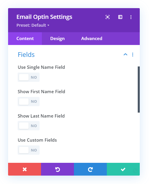 Turn off all the field settings in the Divi Email Option module
