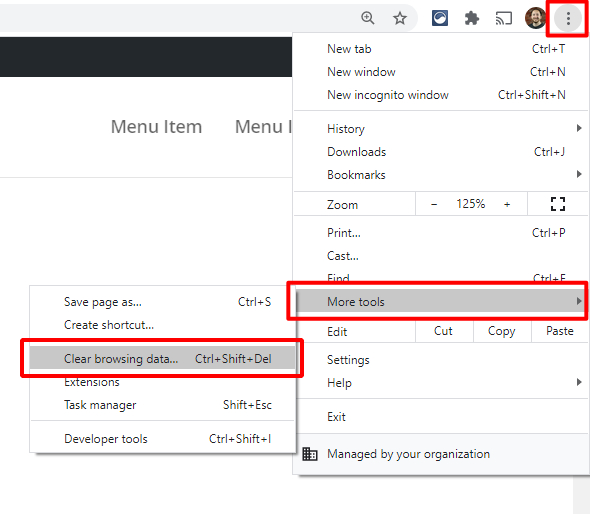 clear your Divi website cache in the Chrome browser