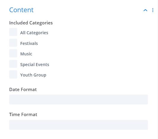 Divi Events Calendar Events Calendar Module Content Settings