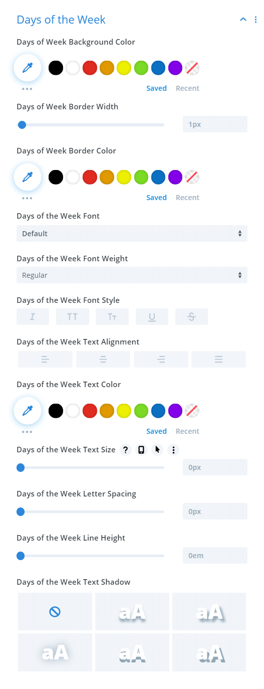 Divi Events Calendar Events Calendar Module Days of the Week Text Settings