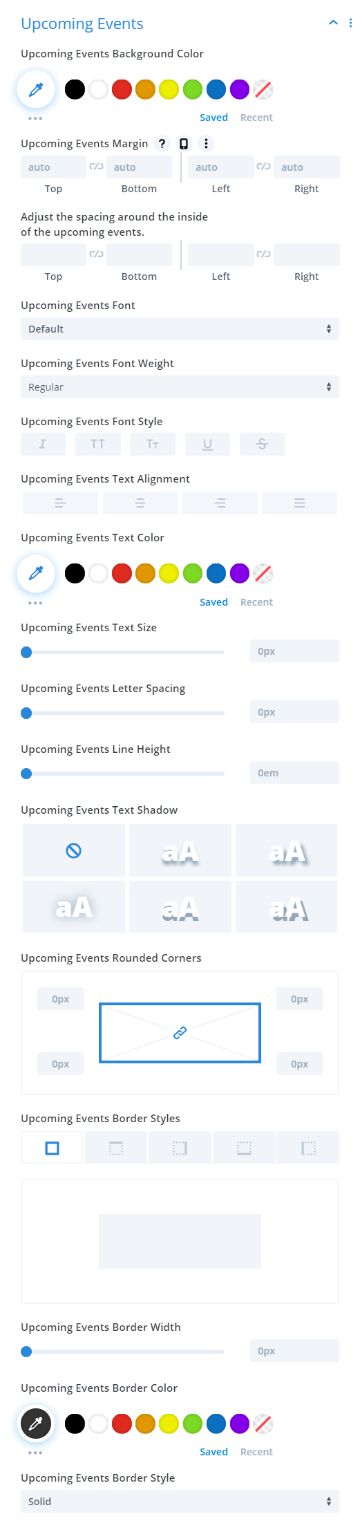 Divi Events Calendar Events Calendar Module Upcoming Events Settings