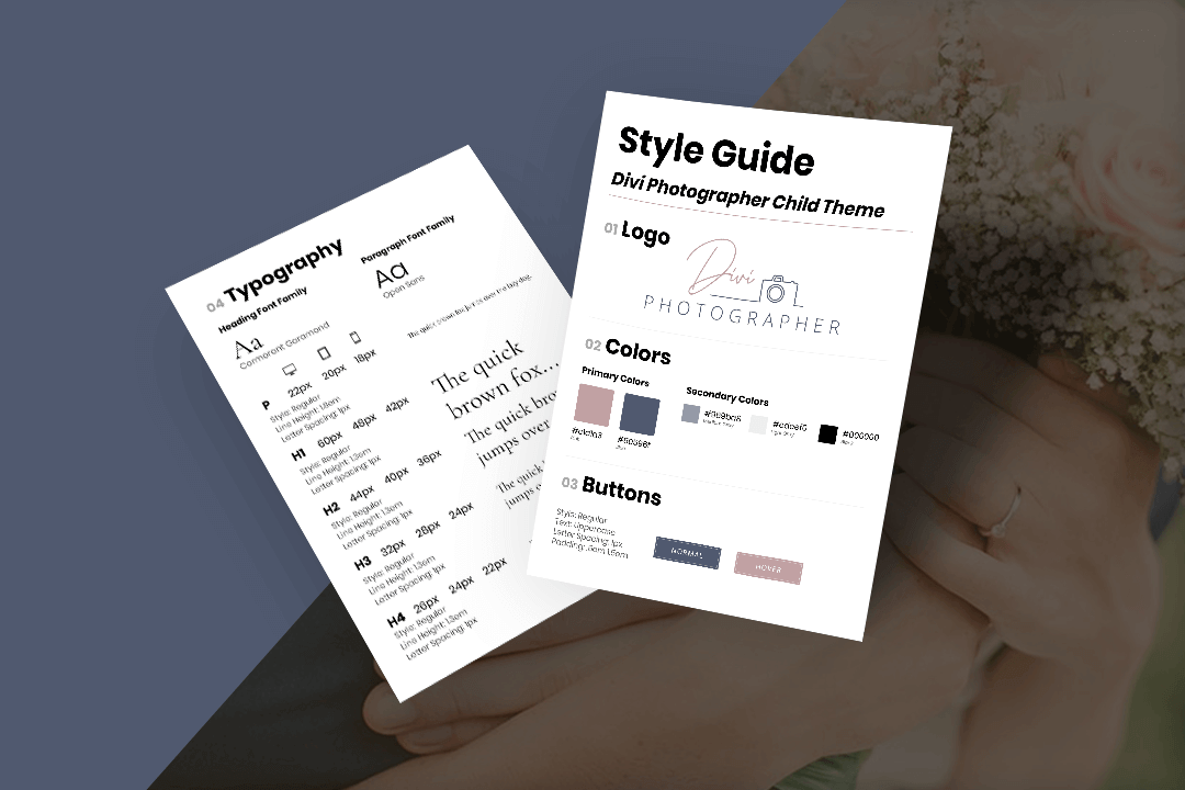 Divi Photographer Style Guide Mockup