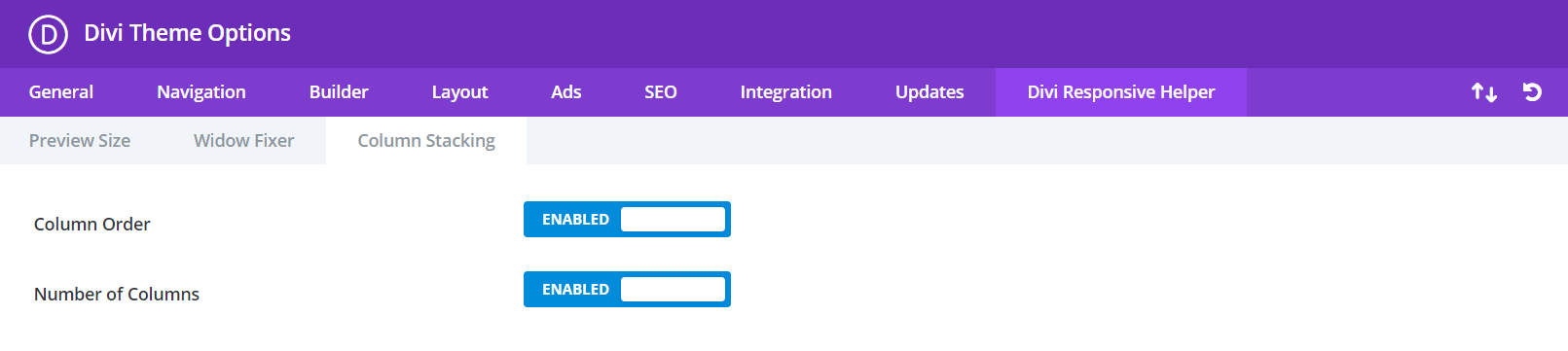 Divi Responsive Helper Column Stacking Settings and Features