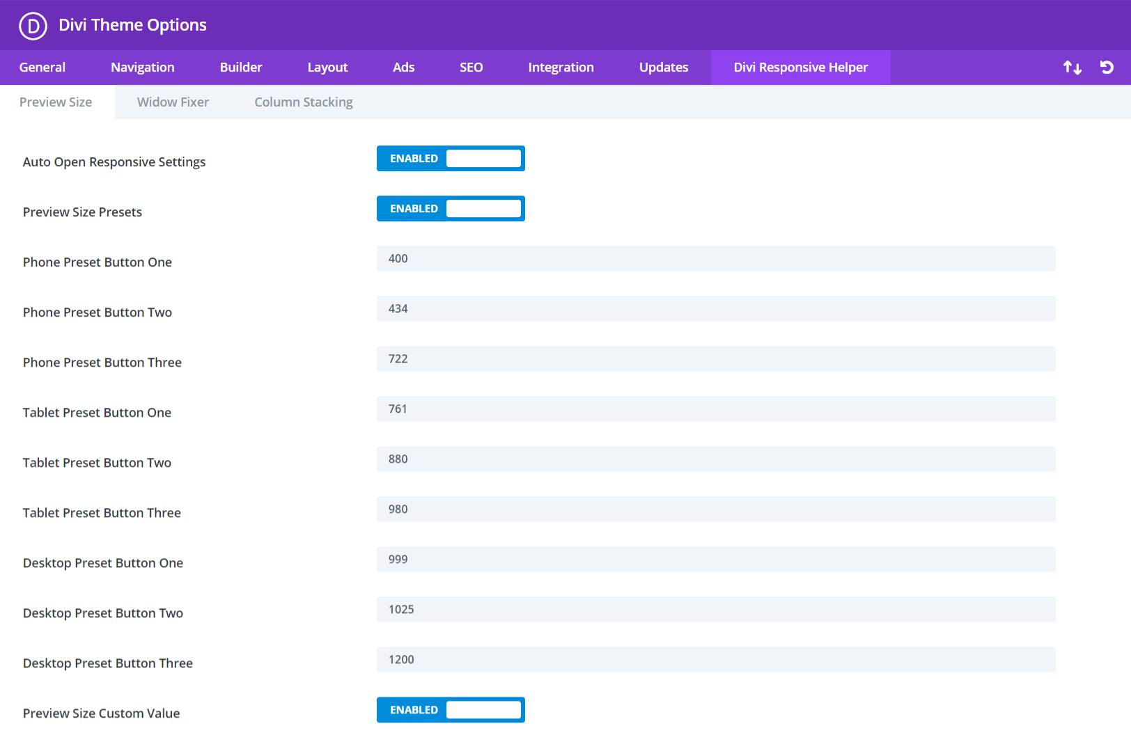 Divi Responsive Helper Preview Size Settings and Features