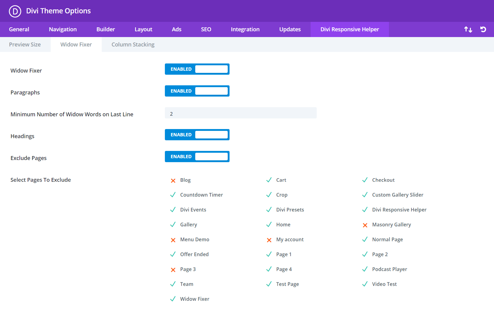 Divi Responsive Helper Widow Fixer Settings and Features