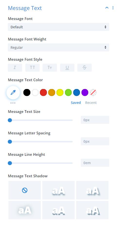 Divi Timer Pro module message text design settings