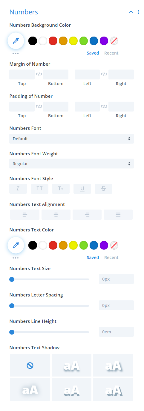 Divi Timer Pro module numbers design settings
