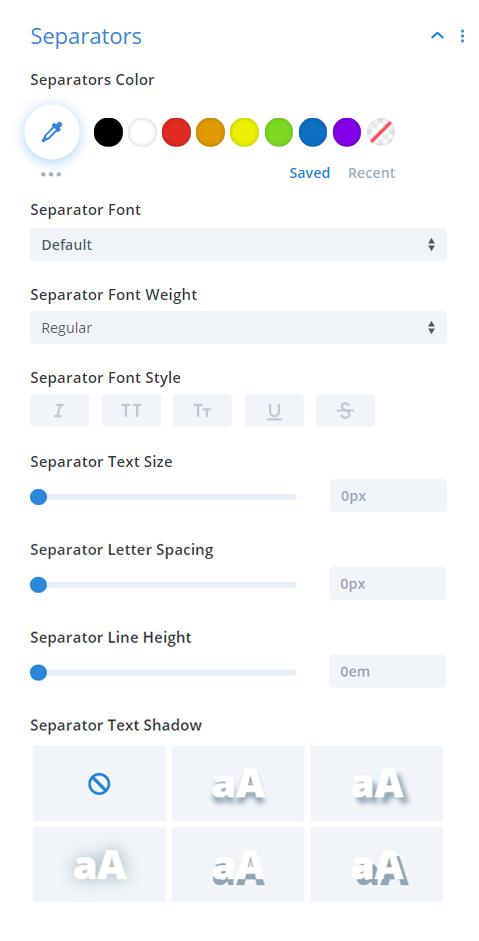 Divi Timer Pro module separators design settings