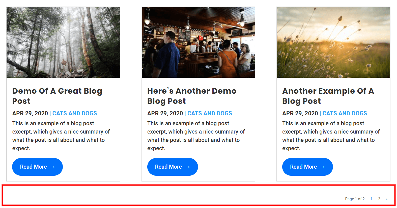 Divi blog pagination with the WP PageNavi plugin