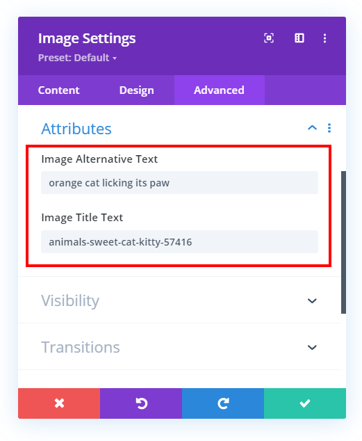 Divi image module automatically showing the SEO alt and title attributes