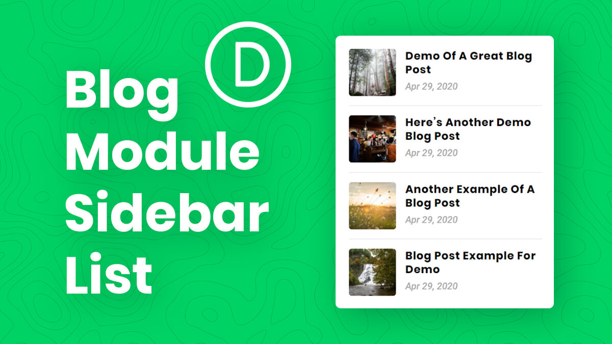 How To Show A List Of Recent Blog Posts In The Sidebar Area With The Divi Blog Module