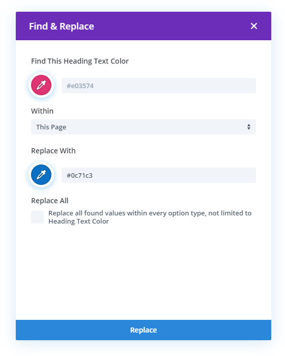 how to find and replace colors in Divi