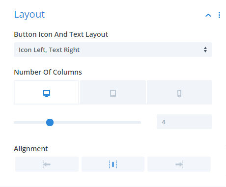 Divi Social Sharing Buttons module Layout Design Settings