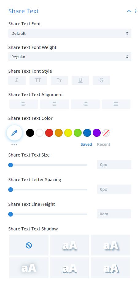 Divi Social Sharing Buttons module Share Text Design Settings