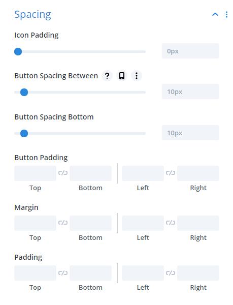 Divi Social Sharing Buttons module Spacing Design Settings
