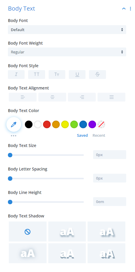 Divi Taxonomy Image and Grid plugin Body Text Design Settings