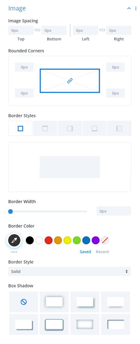Divi Taxonomy Image and Grid plugin Image Design Settings