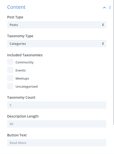 Divi Taxonomy Image and Grid plugin content settings