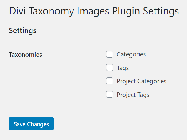 Divi Taxonomy Image and Grid plugin select which taxonomies to use