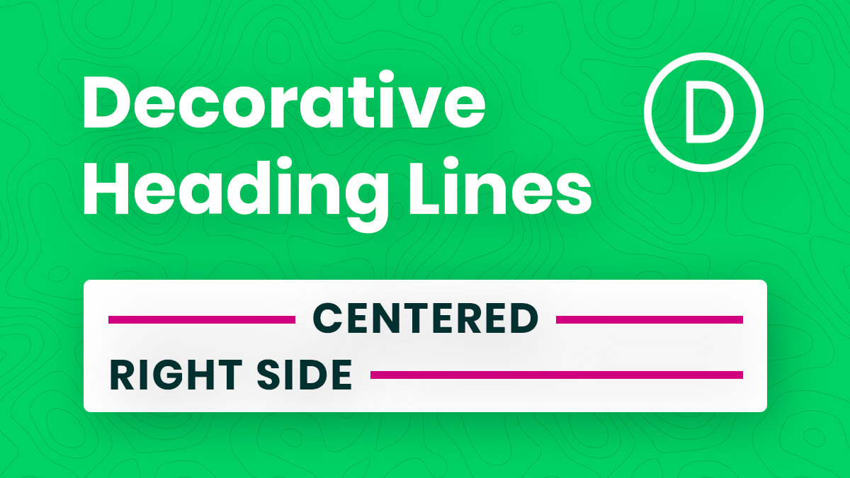How To Add Decorative Horizontal Lines Beside Heading Text In Divi