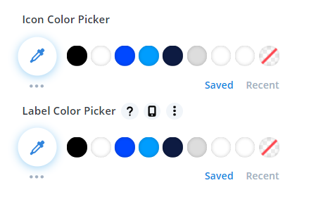 icon and label colors