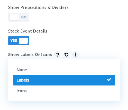 show labels or icons on event details
