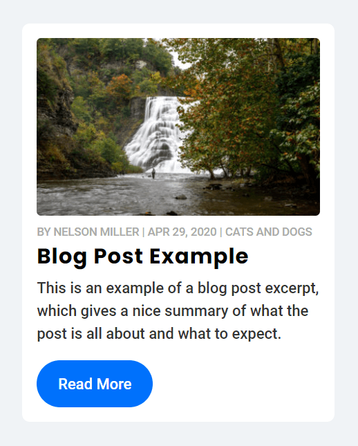 Divi blog post with image meta title excerpt button
