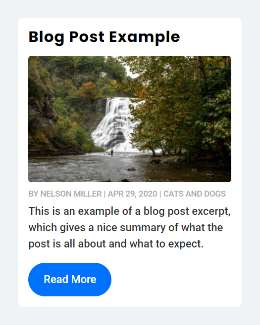 Divi blog post with title image meta excerpt button