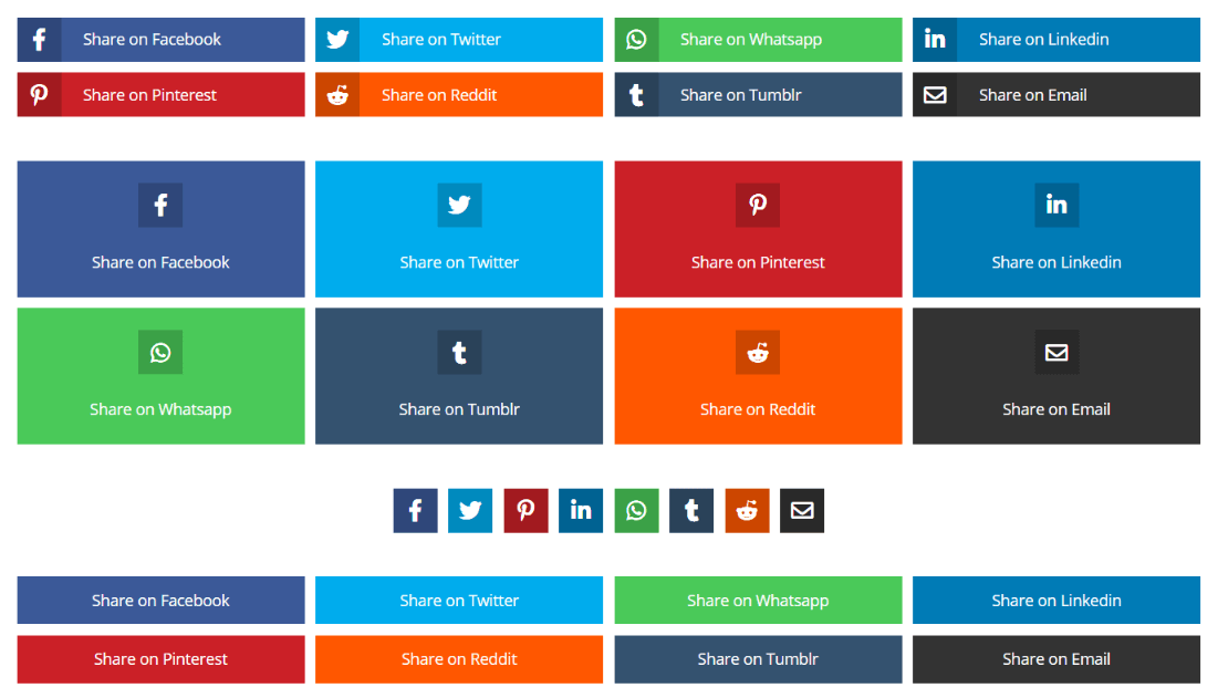 default layouts for the Divi Social Sharing Buttons module