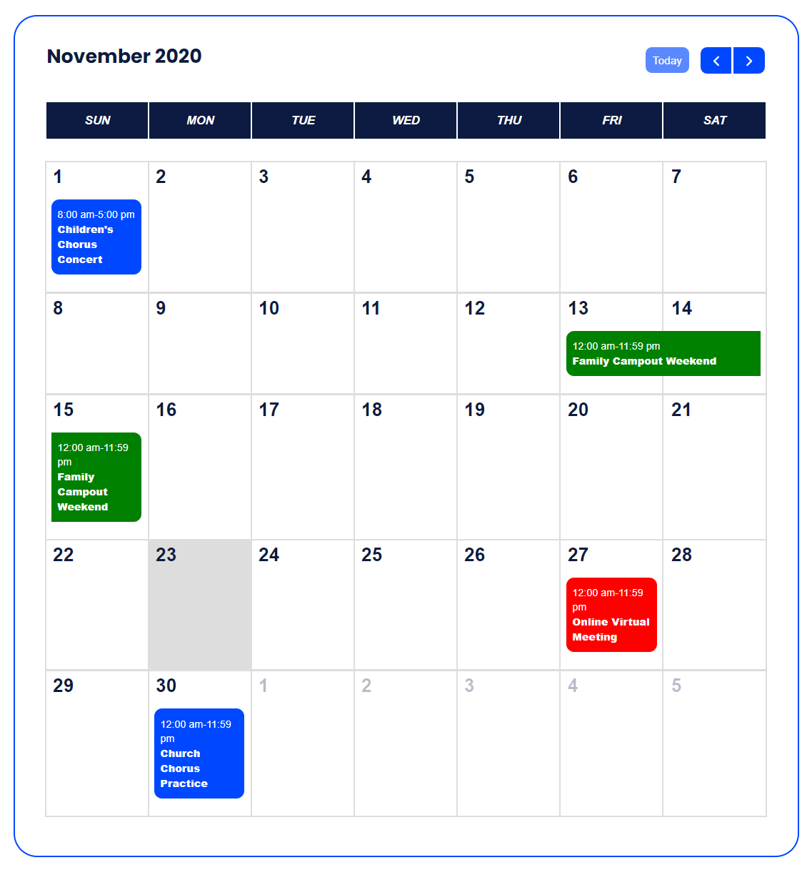 highlighted category colors in Divi Events Calendar