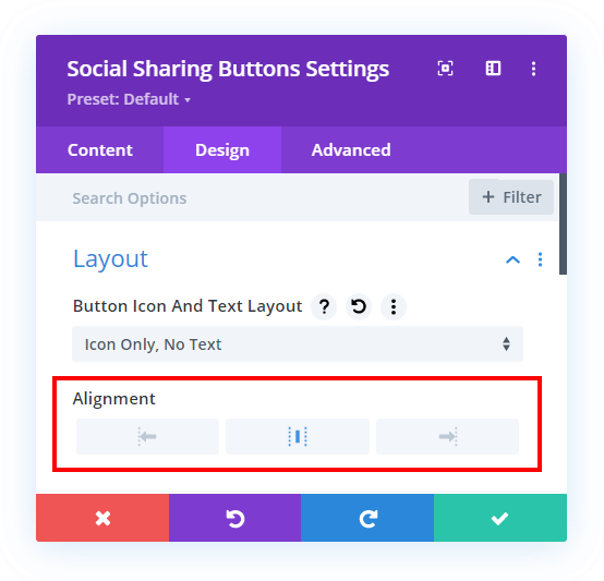 set the alignment of the icons in the Divi Social Sharing Buttons module