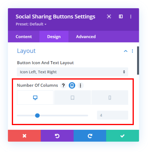 set the number of colunms on each device in the Divi Social Sharing Buttons module