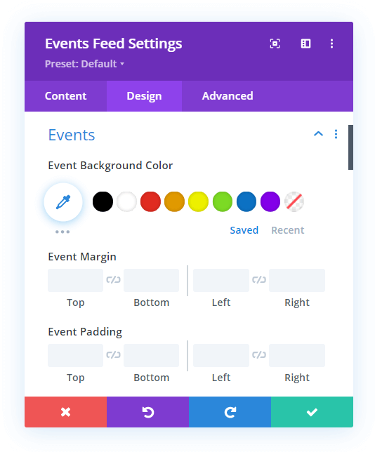 adjust the event spacing changing the Divi Events Calendar website URL into a button