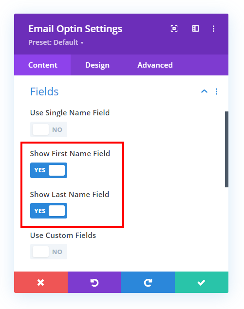 horizontal inline Divi email optin module with first and last name fields turned on