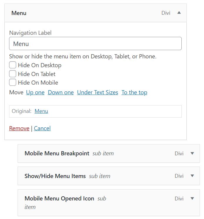 Divi Responsive Helper Menu Settings to show or hide menu items on each device
