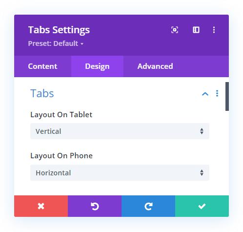 Divi Responsive Helper Tabs Module Tab Layout Settings