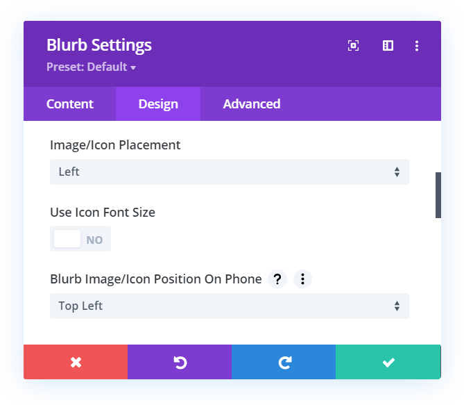 Divi Responsive Helper setting for Blurb Image Icon Positon on Phone devices