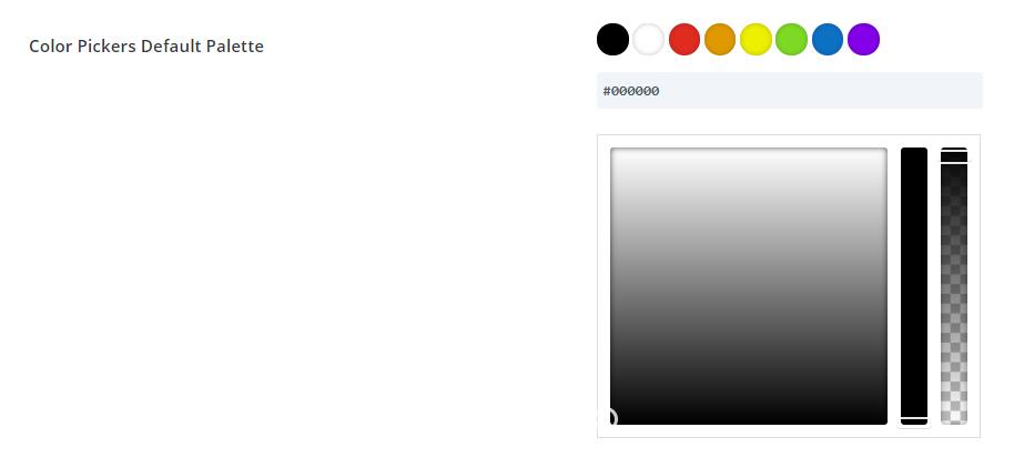 default Divi color palette in Divi Theme Options