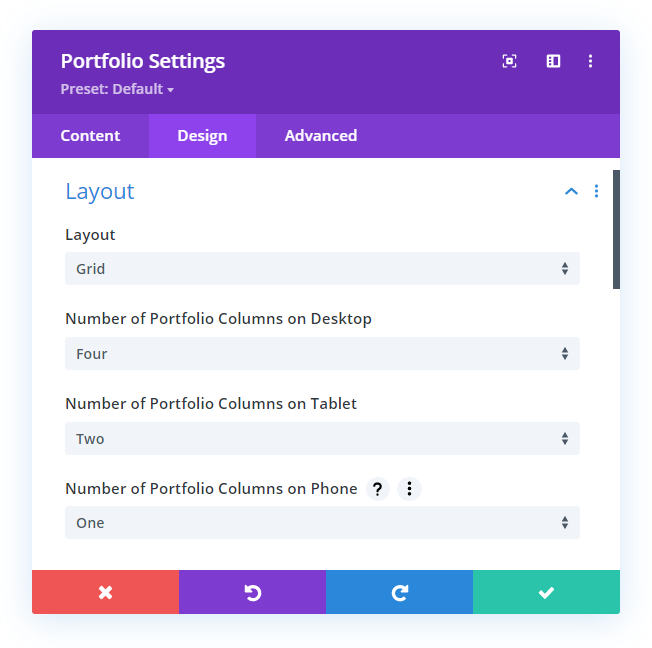 set the number of Divi portfolio module columns on any device