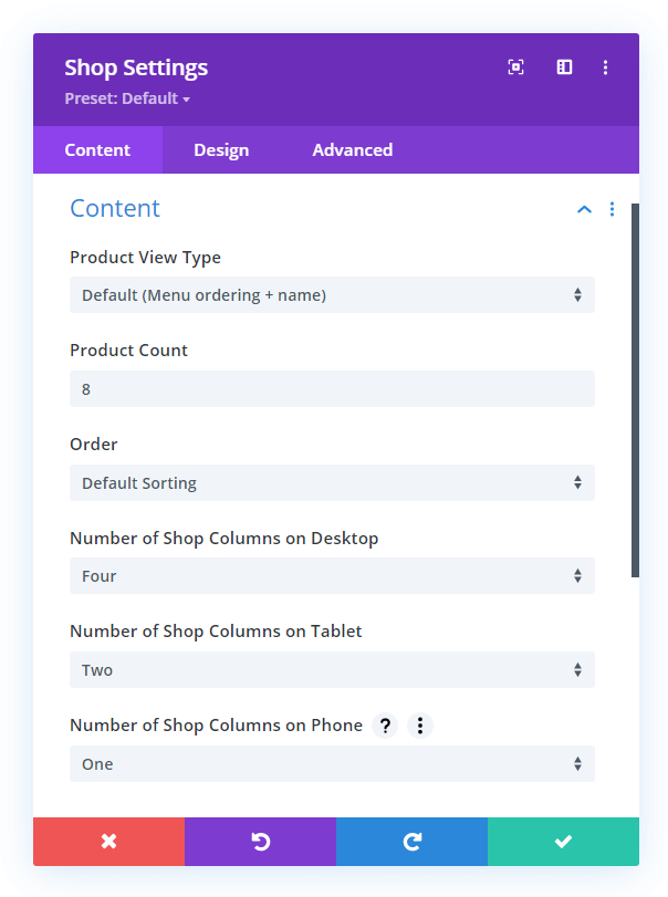 set the number of Divi shop module product columns on any device size